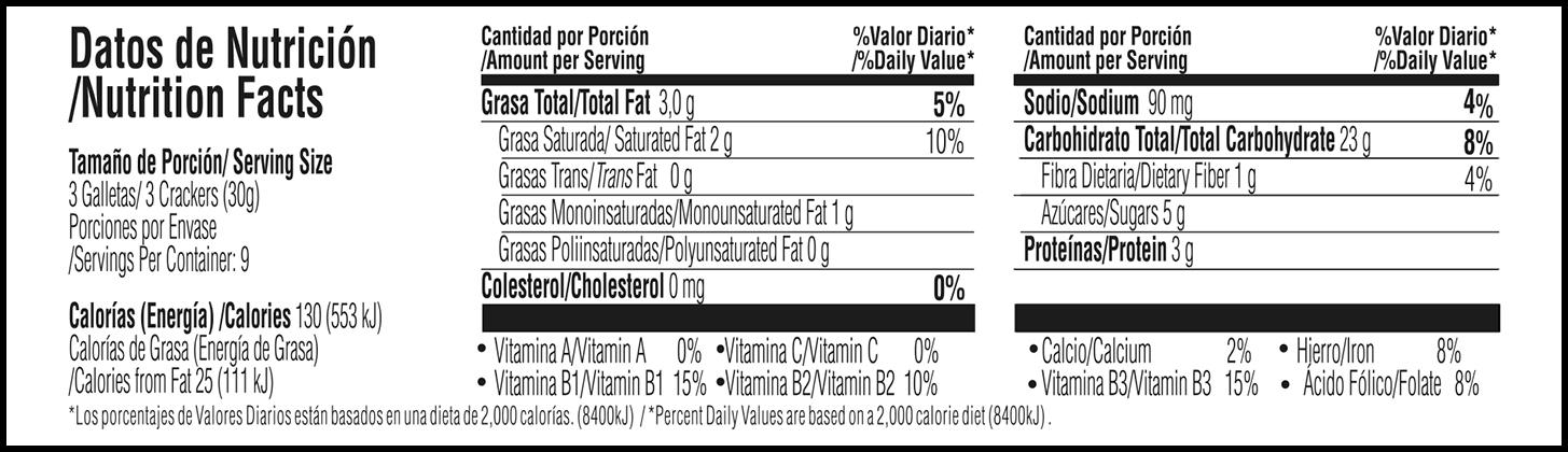 Tabla nutricional Galletas de miel Tosh